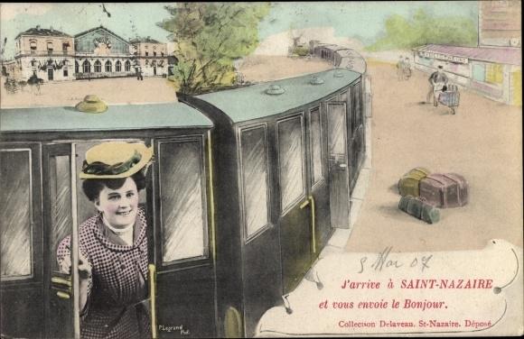 Ak Saint Nazaire Loire Atlantique, Zug fährt in den Bahnhof ein