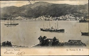 Ak St. Thomas Amerikanische Jungferninseln, Town and Habour