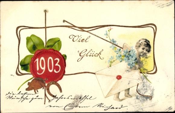 Ak Glückwunsch Neujahr, Jahreszahl 1903, Kleeblätter, Hufeisen, Vergissmeinnicht