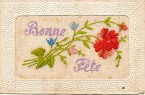 Seidenstick Ak Bonne Fete, Blumen
