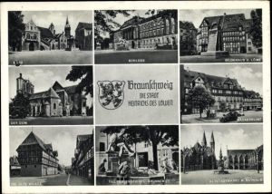 Ak Braunschweig in Niedersachsen, Schloss, Gildehaus, Dom, Bäckerklint, Waage