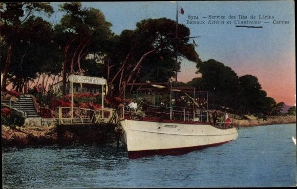 Ak Cannes, Service des Iles de Lérins, Bateaux Estérel et Chanteclair