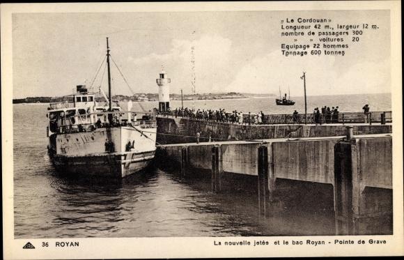 Ak Royan Charente Maritime, La nouvelle jetée et le bac Royan, Pointe de Grave, Le Cordouan