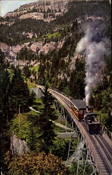 Ak Kanton Bern, Rigibahn, Schnurtobelbrücke, Zahnradbahn
