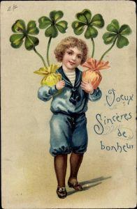Präge Litho Glückwunsch sonstige, Junge mit Kleeblättern