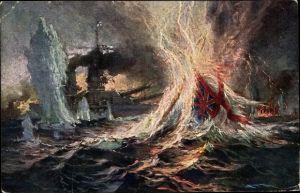 Künstler Ak Bohrdt, Hans, Deutsches Kriegsschiff nimmt britisches Kriegsschiff unter Beschuss