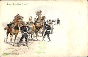 Künstler Ak Becker, Carl, Erstes Geschütz, Feuer, Soldaten mit ihren Pferden