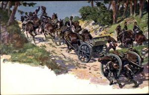 Künstler Ak Hoffmann, Anton, Deutsche Soldaten transportieren Geschütze