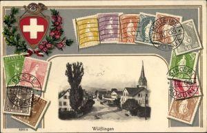 Präge Briefmarken Ak Wülflingen Winterthur Kt. Zürich Schweiz, Ortschaft