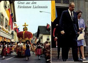 Ak Vaduz Liechtenstein, Fürst Franz Josef II., Fürstin Gina, Fürstenkrone, Trachten