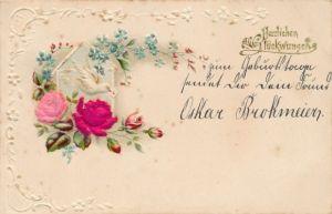 Präge Material Ak Herzlichen Glückwunsch, Rosen, Vergissmeinnicht