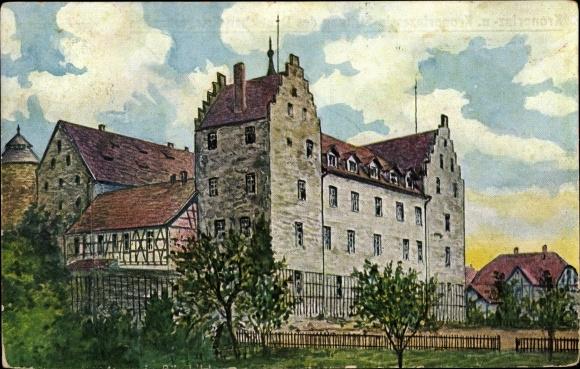 Künstler Ak Römhild in Thüringen, Blick zu Schloss Glücksburg, Kronprinz Stiftung Dt. Kriegerbund