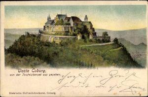 Ak Coburg in Oberfranken, Veste Coburg, Blick von der Teufelskanzel