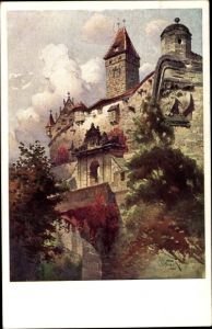 Künstler Ak Coburg in Oberfranken, Partie an der Veste Coburg