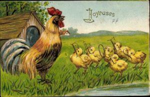 Präge Ak Glückwunsch Ostern, Hahn, Küken