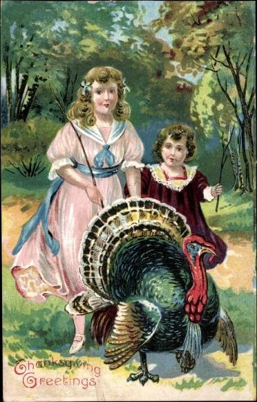 Präge Ak Glückwunsch Thanksgiving, Truthahn, Kinder