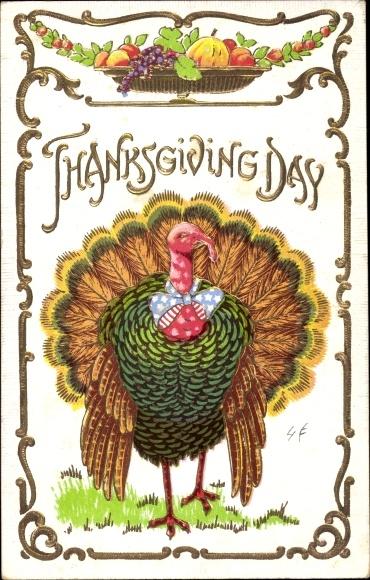 Präge Ak Glückwunsch Thanksgiving, Truthahn