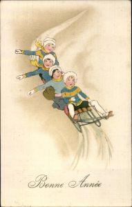 Ak Glückwunsch Neujahr, Schlittenfahrt, Wintersport