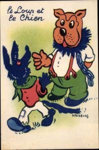 Künstler Ak Le Loup et le chien, Der Wolf und der Hund