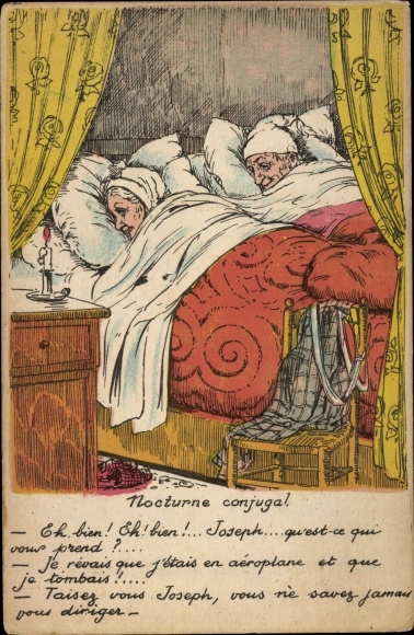Künstler Ak Nocturne conjugal, Altes Ehepaar im Bett
