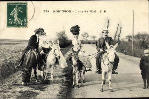 Ak Le Plessis Robinson Hauts de Seine, Lune de Miel, Männer und Frauen auf Eseln