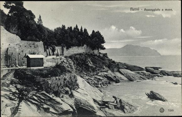 Ak Nervi Genova Genua Liguria, Passeggiata a mare