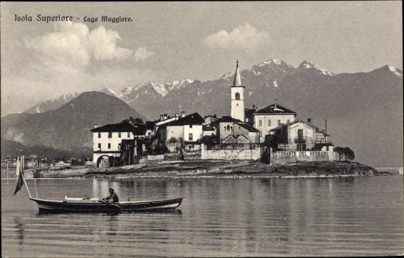 Ak Isola dei Pescatori Lago Maggiore, Blick auf die Insel, Ruderboot, Berge