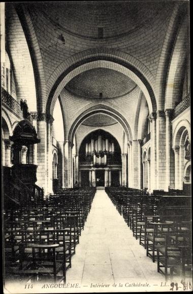 Ak Angoulême Charente, Interieur de la Cathedrale, Orgel
