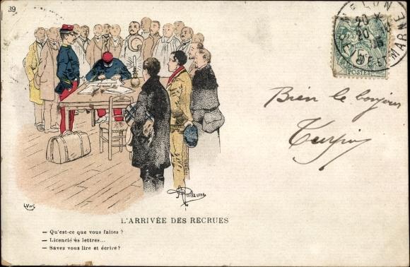 Künstler Ak Guillaume, Albert, L'Arrivee des Recrues, Rekruten