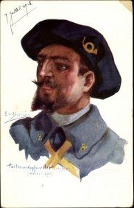 Künstler Ak Dupuis, Emil, Hartmanskopfweiler, Soldat in Uniform, Posthorn