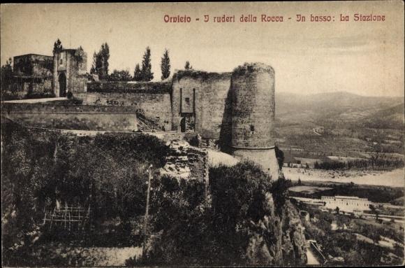 Ak Orvieto Umbria, I ruderi della Rocca, In basso, La Stazione