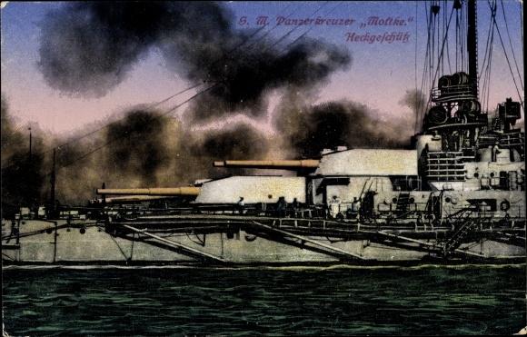 Ak Deutsches Kriegsschiff, SMS Moltke, Panzerkreuzer, Heckgeschütz, Kaiserliche Marine