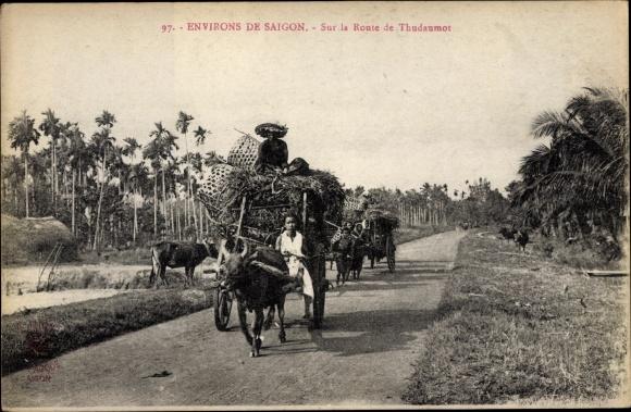 Ak Saigon Cochinchine Vietnam, Environs de Saigon, Sur la Route de Thudaumos
