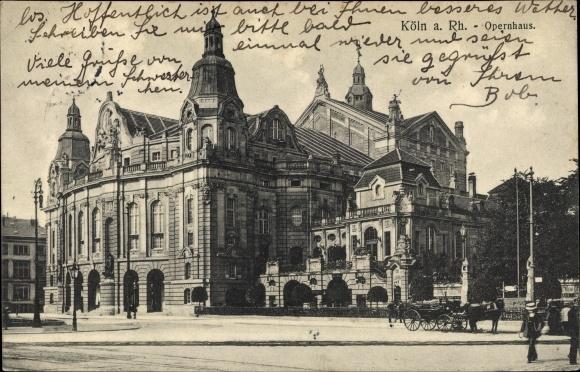 Ak Köln am Rhein, Opernhaus, Pferdekutsche
