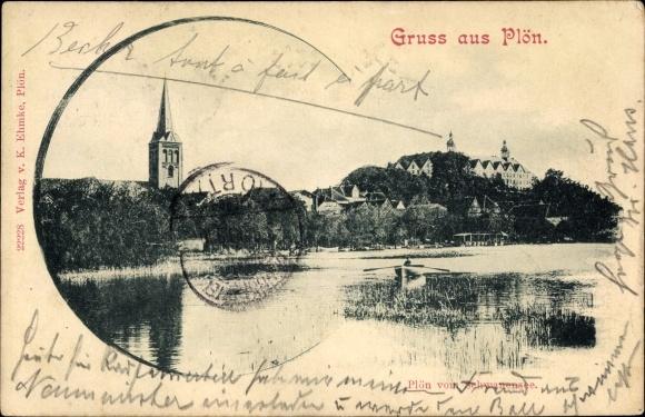 Ak Plön am See Schleswig Holstein, Blick vom Schwanensee, Ruderboot