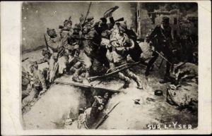 Künstler Ak Sur l'Yser, Schlachtszene, Deutsche und französische Soldaten, Schützengraben