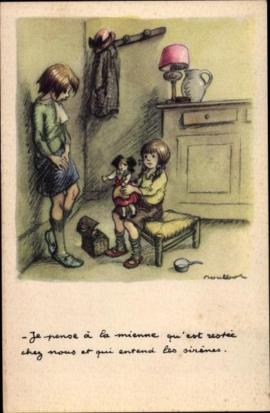 Künstler Ak Poulbot, Francisque, Je pense à la mienne qu'est restée chez nous