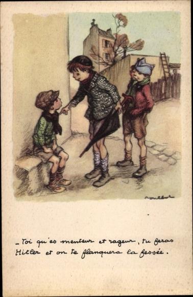 Künstler Ak Poulbot, Francisque, Toi qu'es menteur et rageur