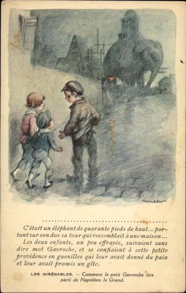 Künstler Ak Poulbot, Francisque, Les Misérables, Petit Gavroche
