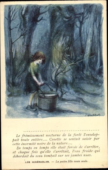 Künstler Ak Poulbot, Francisque, Les Misérables, Petite fille toute seule