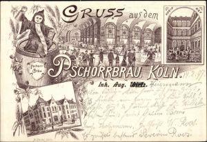 Litho Köln am Rhein, Pschorrbräu, Außen- u. Innenansicht, Kneip Hof, Burghöfchen 2-6, Kind, Weinkrug
