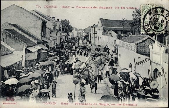 Ak Hanoi Tonkin Vietnam, Promenade du Dragon, rue des Eventails