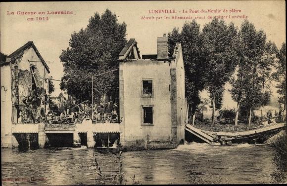 Ak Lunéville Lothringen Meurthe et Moselle, Pont du Moulin de platre