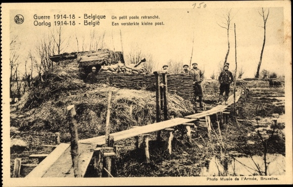 Ak Belgien, Un petit poste retranché, Soldaten in einem Post