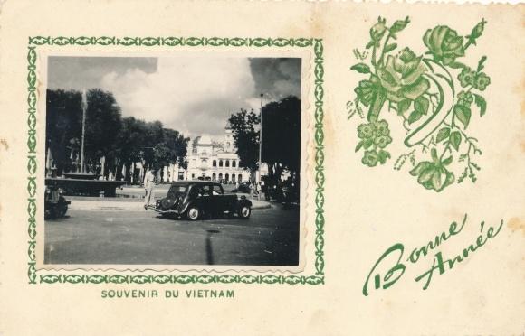 Passepartout Ak Neujahr, Vietnam, Platz, Auto, Glückwunsch