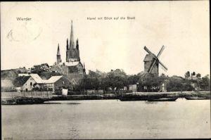 Ak Werder an der Havel, Havel mit Blick auf die Stadt, Windmühle