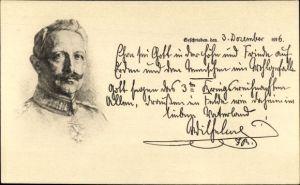 Künstler Ak Kaiser Wilhelm II., Weihnachtsgruß