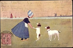 Künstler Ak Mädchen mit zwei Hunden