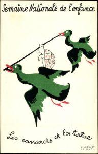 Künstler Ak Semaine Nationale de l'enfance, Les canards et la tortue, Enten, Schildkröte