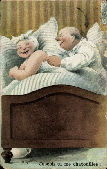 Künstler Ak Huber, O., Joseph tu me chatouilles, Dickes Ehepaar im Bett